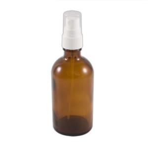 Flacon verre brun 100ml vaporisateur blanc
