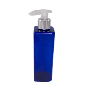 Flacon 250ml bleu + pompe liquide couleur aluminium et transparente