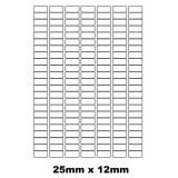 Etiquettes autocollantes 25mm x 12mm