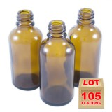 Lot de 105 flacons verre brun 50ml