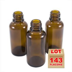 Lot de 143 flacons verre brun 30ml